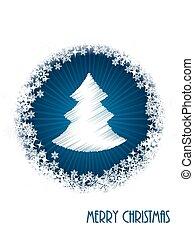White christmas greeting card with bursting christmastree