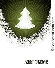 White christmas greeting with bursting christmastree from green circle