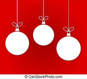 White Christmas hanging baubles on red background.