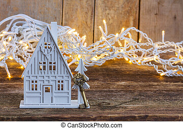 White christmas house - White wooden christmas house glowing...