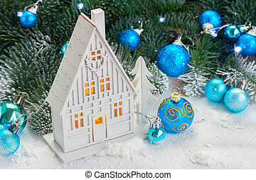 White christmas house - White christmas wooden house with...