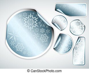 White Christmas labels and stickers with chrome border and...