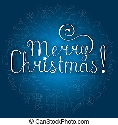 White christmas lettering on blue background with doodle hand drawn icons