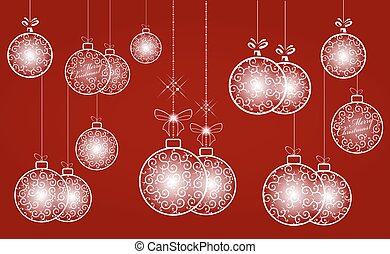 white christmas retro ball, set