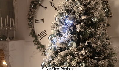 White christmas room with watch