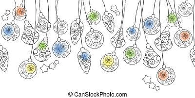 White Christmas seamless border with hanging balls