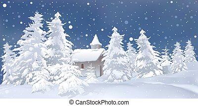 White Christmas - snowy background illustration