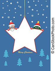 white Christmas star with santa and