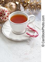 White Christmas tea cup