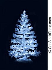 White Christmas tree decoration on dark