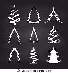 White christmas tree icons on chalkboard