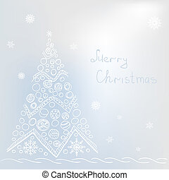 White christmas tree on grey background with snowflakes, buble.