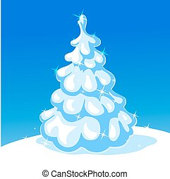 white christmas tree - vector illus