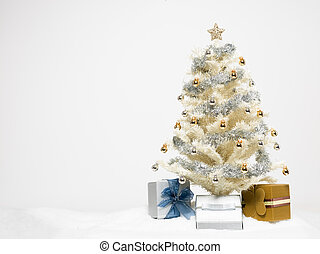 white christmas tree with presents
