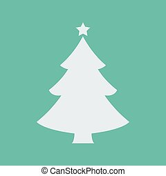 White Christmas tree with shadow isolated on red background. Vector illustration.