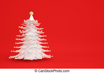 White christmastree on red background with golden...