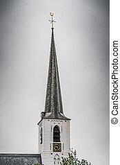 White church in Noordwijkerhout in the Netherlands with ...