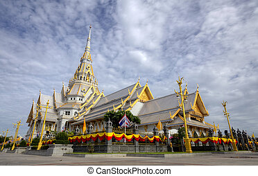 white church in Thai temple