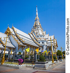 White church in Thai temple (Wat sothon)