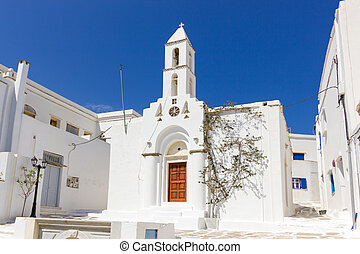 white church in Tinos Island, Greece