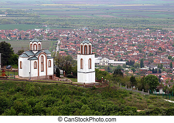white church on hill landscape