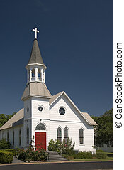 White Church with Red Doors