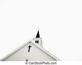 White church with steeple.