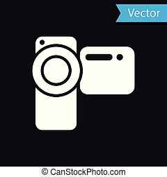 White Cinema camera icon isolated on black background. Video camera. Movie sign. Film projector. Vector Illustration