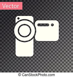 White Cinema camera icon isolated on transparent background. Video camera. Movie sign. Film projector. Vector Illustration