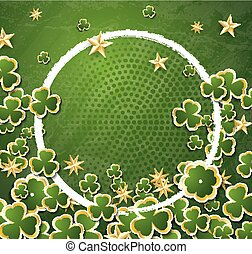 White Circle Frame with Clovers for St. Patrick's Day.