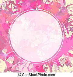 White circle over artistic paint splashes - Template with...