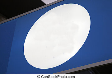 White Circle Sign on Blue Background