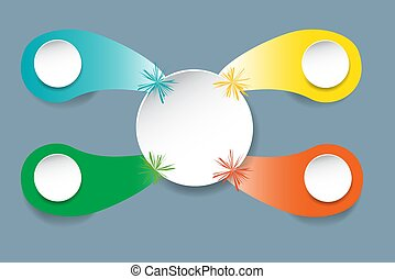 White circle with four color drops, blank circles and color beams
