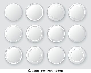 White circles. Abstract disk frames. Set of round buttons