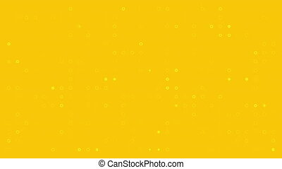 White circles on yellow background are changed size with top view motion. looped animation.