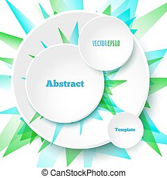 White circles with green abstract shapes vector template for your designs