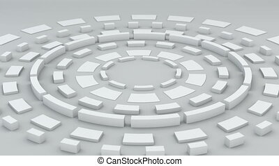 White circular elements rotating loopable 3D render - White...