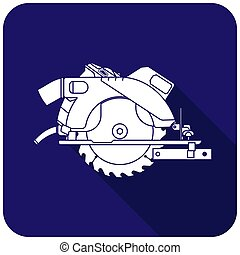 White circular saw icon on a blue background