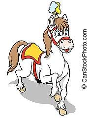 White Circus Horse