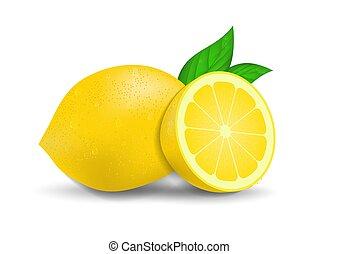 white., citroenen, realistisch, fris, vrijstaand, bladeren