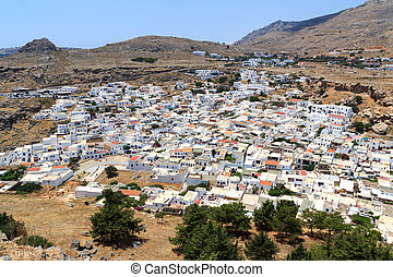 White city Lindos in Rhodes, Greece
