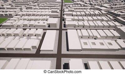 White city. Technology design. Town plan. Interior design. 3d shape illustration. Engraved design. 3d render.