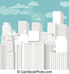 White cityscape with blue sky. Vector cartoon illustration.
