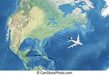 White Civil Airplane over the Atlantic ocean flying to...