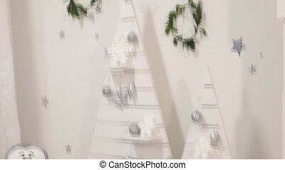 White classic Christmas and New Year interior room with...