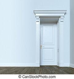 White classic door in elegant interior with hardwood flooring. 3d render