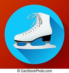 white classic ice skates icon on blue