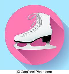 white classic ice skates icon on pink