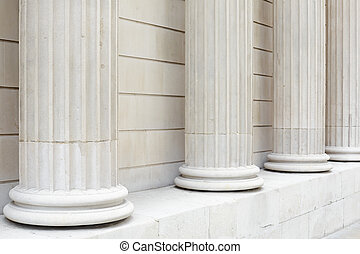 White classical columns background