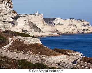 White cliffs near the old town of Bonifacio, Corsica